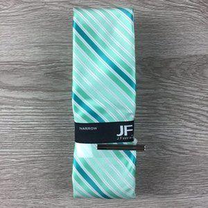 JF J. Ferrar Mint Green & White Striped Narrow Tie